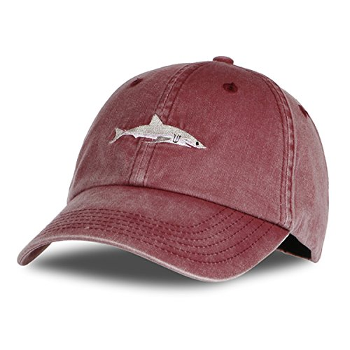 9f840a2f09c Himozoo Women Men Baseball Cap 100% Cotton Washed Shark Embroidery Dad Hat  (WineRed)