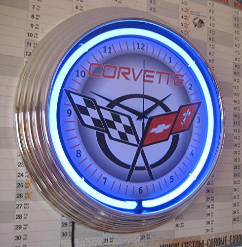 neonuhr-chevrolet-corvette-c5-neon-blau-werkstatt-wanduhr-neon-reklame-usa-50s-style
