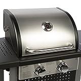 Bruzzzler 2 Flammen-Gasgrill, Grillstation mit 2 Heizzonen für individuelle stufenlose Temperaturregelung, inklusive Warmhalterost, Farbe: schwarz-silber - 5