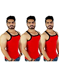 ZIMFIT Men's Cotton Casual Gym Vest Pack of 3 - (Red_Red_Red)