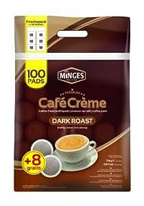 Minges Café Crème Dark Roast Mega Sacs, 6x 18Dosettes (100+ 8de), arôme gratuit Soft Pack, 756G, 1er Pack (1x 756G)