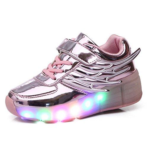 Skateboard Schuhe Unisex RollenRäder Schuhe Kinder Mädchen Jungen 7 Farbe Farbwechsel Sneaker Led Leuchtet Sohle Leuchtend Sport Turnschuhe ohne USB Es gibt ein Rad