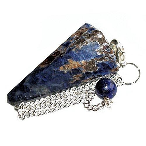 Pendolino de cristallo, pendolo di pietra preziosa per radioestesia, divinazione e cristalloterapia (sodalite)