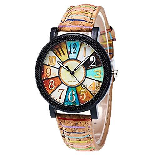 Relojes Pulsera Mujer,KanLin1986 Harajuku graffiti patrón de cuero cinturón análogo cuarzo relojes...