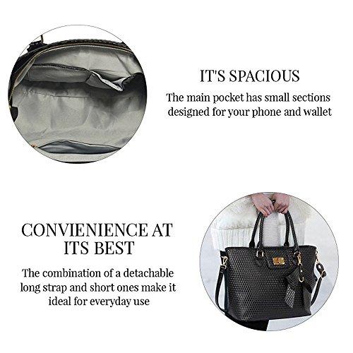 Handtaschen für Frauen-Tragetasche (Nude) Designertaschen Schultergurt Kunstleder stilvollen Damen-Pelz-Tasche A - Rot