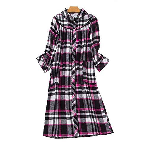 DSJJ Nachthemd Damen Baumwolle 3/4 Langarm Gitter Lang Baumwolle Nachtkleid Sexy Knopfleiste Langarmshirt Schlafkleid Sleepshirt große größen S-5XL (Schwarz,XXL) -