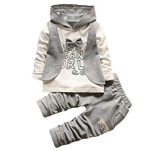 Babybekleidung,Resplend Baby Lange Ärmel Oberteile + Hosen zweiteiliger Anzug Bowknot Streifen Mit Kapuze Hoodie Bekleidungssets Babyanzug (Marine, 12M)