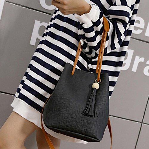 BZLine® Frauen Leder Quasten einzelne Schulter Tasche + Clutch Beuteltasche (Schwarz) Schwarz