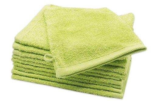 Zollner 10er Set Waschlappen Waschhandschuh aus Baumwolle, apfelgrün (weitere verfügbar), ca. 16x21 cm
