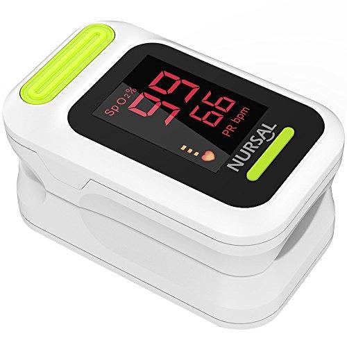 NURSAL Fingerspitzen Puls Oximeter Blutsauerstoffmessgerät mit Tragetasche und Trageband (Weiß)