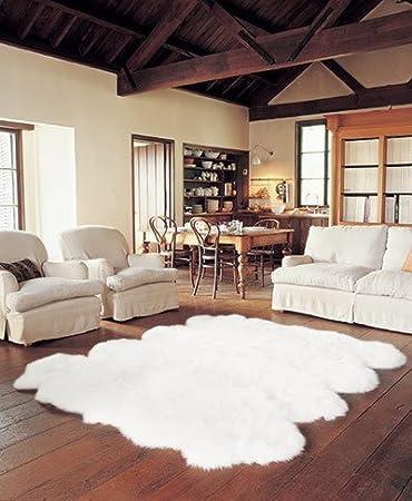 Schaffell Lammfell Teppich Kaminvorleger Wohnzimmerteppich 8 Fach 215x180cm Weiss Amazonde Kche Haushalt