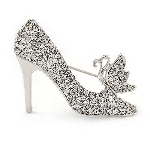 Kristall klar High Heel Brosche in Silber Tone Metall–40mm - Klar Schuh Heel