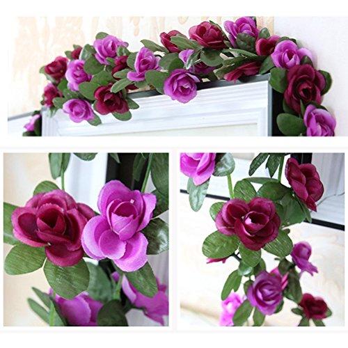 ke Rose Girlande Blumen Vine Künstliche Pflanzen für Home Hochzeit Garten Geburtstag Festival Dekoration–Hot und Light Violett (Halloween-girlanden Zu Machen)