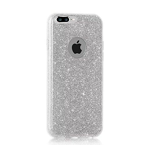 QianYang iPhone 8 Plus Etui iPhone 8 Plus Coque iPhone 8 Plus Housse iPhone 8 Plus 5.5 Pouces TPU Silicone Case Cover Trasparente TPU Gel Hull TPU Custodia All Argent