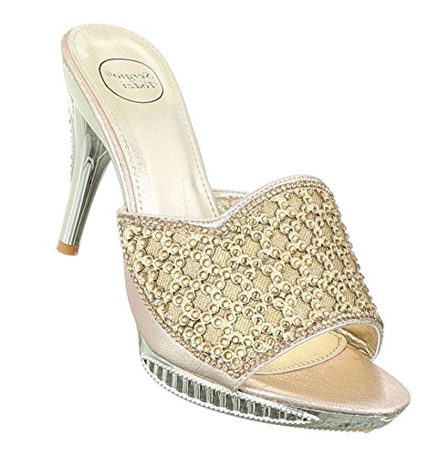 Damen Sandaletten Schuhe High Heels High Heels stiletto Pantoletten Pumps Gold