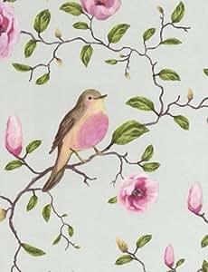 """Eijffinger - Papier Peint Motif Oiseau Fleurs Magnolia """"Un Bisou"""" 310010 - Bleu"""