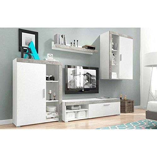 exklusive wohnwaende Home Direct MEG Moderne Wohnwand, Exklusive Mediamöbel, TV-Schrank, Neue Garnitur (Front Matt: Weiß und Beton Leisten/Korpus Matt: Weiß)