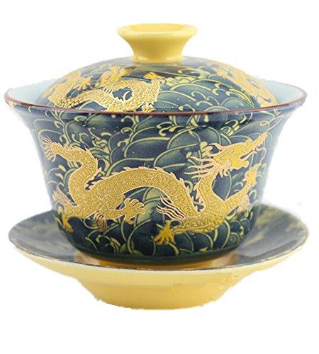 n Gaiwan dunkelblau Dragon Tradition sancai Damen Tee Tasse Tee-Set Best Geschenk ()