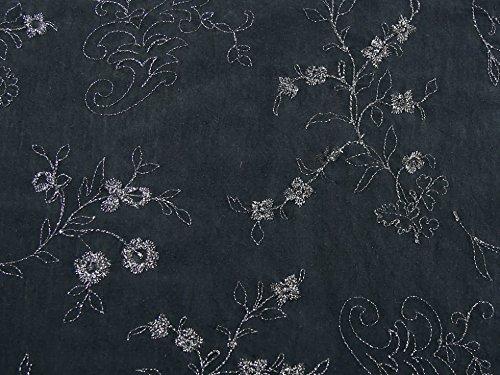 Bestickte Baumwoll-voile Kleid (Floral Lurex bestickt Baumwolle Voile Stoff, Meterware, Schwarz)