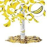Relaxdays 10021771 Cannone Spara-Coriandoli, 40 cm, Banana, Gittata fino a 8 m, per Carnevale e Party, Giallo