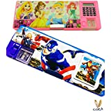 Multipurpose Pencil Box With Calculator & Dual Sharpner By Cora, Avenger And Barbie Type -- Dual Sided Compartment All In One For Kids (multicolour-colour May Vary )
