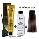 Lot coloration cheveux 100 ml Oro Therapy châtain clair 5/ + oxydant 20 volumes 150 ml