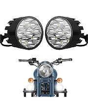 Autofy Universal 9 LED Fog Lights Auxillary Light for All Bikes (27W, White Light, Set of 2)