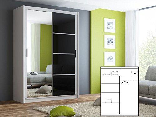 Schiebetürenschrank - Kleiderschrank - Schwebetürenschrank ELY in Weiß, mit Spiegel und schwarzer Fronthälfte, Breite: 150/203 cm, Höhe: 215 cm,...