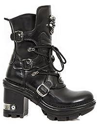 New Rock Hombres Negro Cuero Estrecho Forma Formal Casual Zapatos - M.2246.S20 (EU 45, Negro)