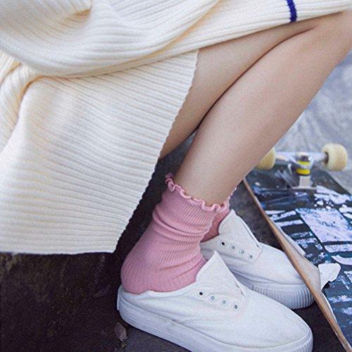 LUOEM Slouch Socken Stricksocken für Damen Mädchen Füße von 35-38 Größen (Rosa) - 2