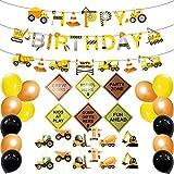 chenut Birthday Party Luftballons Alles Gute Luftballons Aus Latex mit Banner, Cake Topper, Verkehrszeichenkarte, Ballonkleber BAU Unter Dem Motto Geburtstag Party Deko Kit