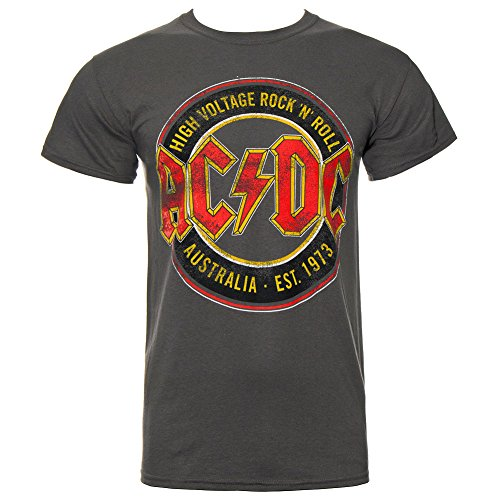 AC/DC Aug Est 1973 T Shirt (Charcoal Grau) Grau