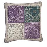 Clayre & Eef funda de cojín púrpura Patchwork Lila/Verde/Beige 40x 40cm