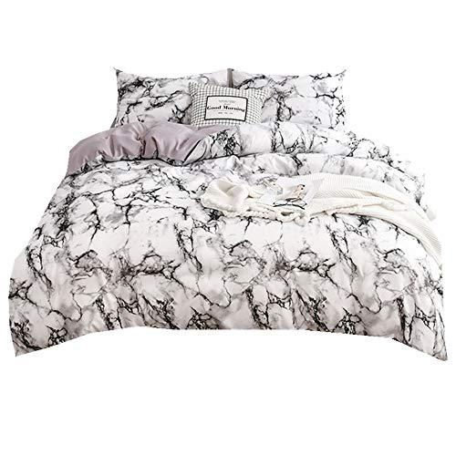 Schwarzer Marmor Bettbezug Set mit Kissenbezug, Marmor Stein Wohnheim Bettwäsche Set Schlafzimmer Dekoration Luxus 2/3 Teilig Mikrofaser Polyester (Marmor-Weiß Hintergrund, 220x240cm) -