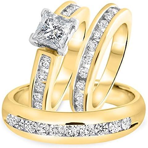 Fashion Vorra TCW & Princess Trio 2 di anello con zirconia cubica, placcato oro 14 k, argento Sterling 925 - Womens Anello Trio
