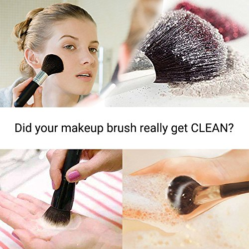 Makeup Brush Cleaner Silicon Makeup Brush Cleaning Mat Big Size with Wider Opening for 4 Fingers - MelodySusie