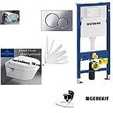Geberit Duofix UP 320 Vorwandelement mit Sigma01 chrom,V&B Architectura Compact AL: 480 mm WC DirektFlush Spülrandlos, Tiefspül-WC, inkl. Sitz ,Ceramicplus