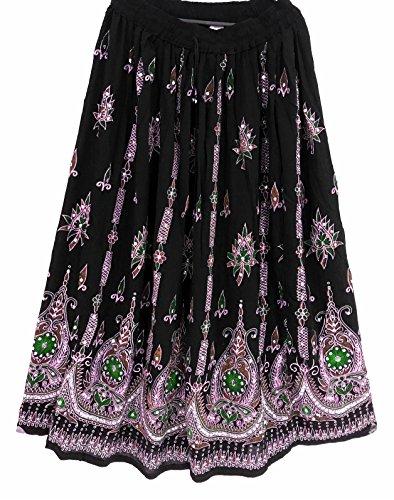 Gonna lunga colorata da donna, stile indiano/bohémien/hippie/gipsy, con paillettes, estiva, prendisole, maxi gonna per la danza del ventre 13 Medium VERDE NERO
