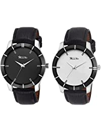 Roman Star Black Leather Strap Analogue Watch For Unisex Pack Of-2 (RS-1252)