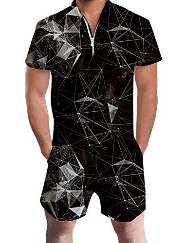 urz Herren 3D Lustig Schwarz Dimond Onepiece Jumpsuits Overall Strampler Männer Sommer Hawaii Strand Party Kurzen Ärmel Zipper Kostüm XXL ()