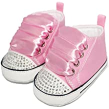 Converse Style baby pram shoes with crystals and ribbons 6-12 MONTHS PINK