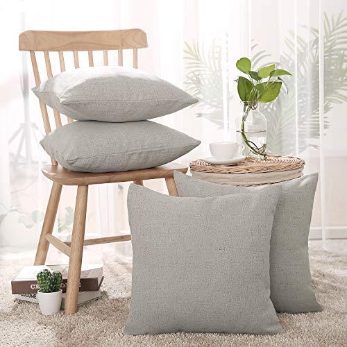 Deconovo copricuscini divano in lino fatte a mano morbidi per salotto fodere ciscini con cerniera invisibile 45x45cm grigio chiaro 4 pezzi