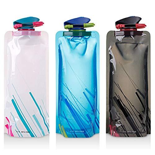 Gintan 3er-Pack Faltbare Wasserflaschen, 700 ml Flexible Trinkflaschen zusammenklappbare Wasser-Flaschen-Satz für Outdoor-Sport Wandern,Abenteuer,Reisen mit auslaufsicherem Drehverschluss