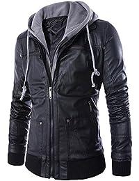 MatchLife Hommes Slim coupe-vent à capuche Biker Fermeture Zip Up Rock Punk Vestes en cuir Manteau S M L XL