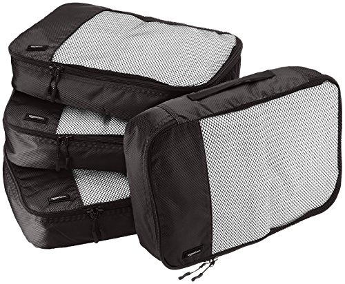 AmazonBasics Packing Cubes/Travel Pouch/Travel Organizer - Medium, Black (4-Piece Set)