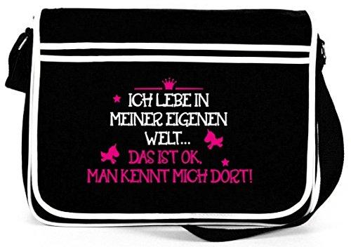 Shirtstreet24, Meine eigene Welt, Unicorn Einhorn Retro Messenger Bag Kuriertasche Umhängetasche ,...
