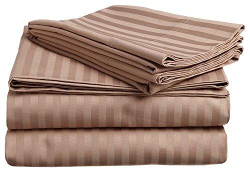Bedding- ägyptische Baumwolle, Fadenzahl 300,, 26, Deep Pocket, 6 Satz UK Super King Size Betten 100, Taupe gestreift %ägyptische Baumwolle (Taupe-bett-satz)