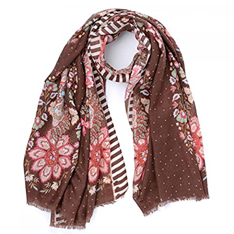 Oilily Travel Flower Shawl Brown