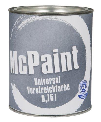 McPaint universale Vorstreichfarbe, Grundierfarbe zur universellen Vorbehandlung aller nachfolgenden Lackierungen, besonders geeignet für Holz, außen, auf Wasserbasis - Farbton: Weiß, 0,75 Liter