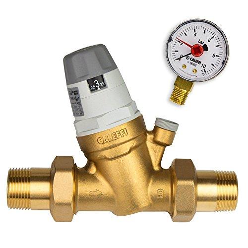 Caleffi Wasserdruckminderer 1 Zoll DN25 Druckminderer für Wasser mit Austauschbarer Kartusche und Manometer, Druckminderungsventil, Druckregler 535061